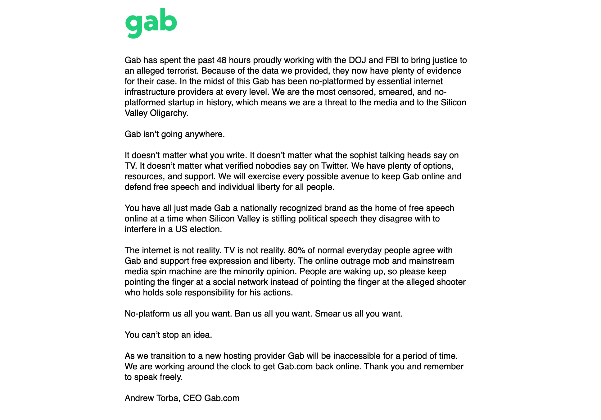 Gab shuts down due to Pittsburgh's mass murder 2