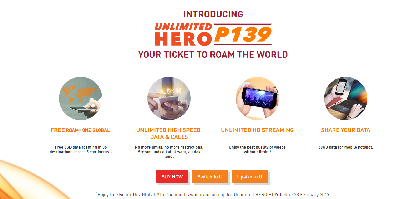 Get unlimited high speed data and free data roaming with U Mobile's Unlimited HERO P139 Postpaid Plan 1