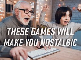 old man plays pc games with grandson online games
