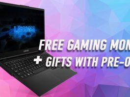 Lenovo Legion gaming laptop purple background