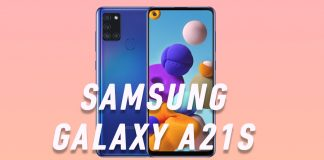 Samsung Galaxy A21s front and back in pink