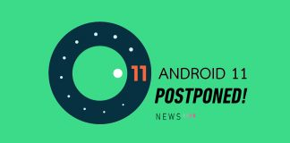 Android 11 poster postpone green
