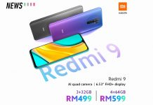 Xiaomi Redmi 9 Malaysia price front screen