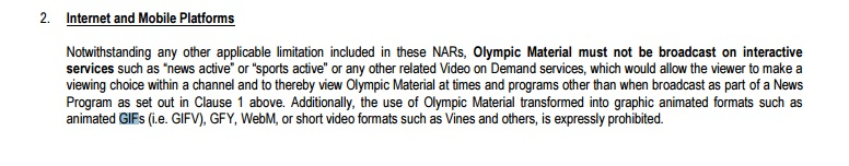 IOC prohibits press covering the Rio 2016 Olympics from releasing GIFs and Vines of the event 1
